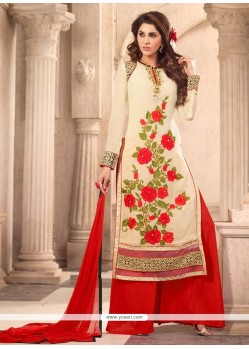 Cream And Red Faux Georgette Designer Suit