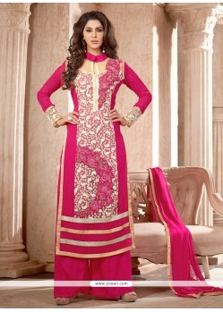 Gripping Faux Georgette Hot Pink Designer Suit