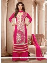 Gripping Faux Georgette Hot Pink Designer Suit