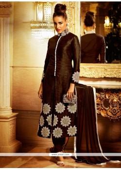 Brown Bhagalpuri Silk Designer Suit