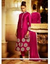 Refreshing Magenta Bhagalpuri Silk Designer Suit