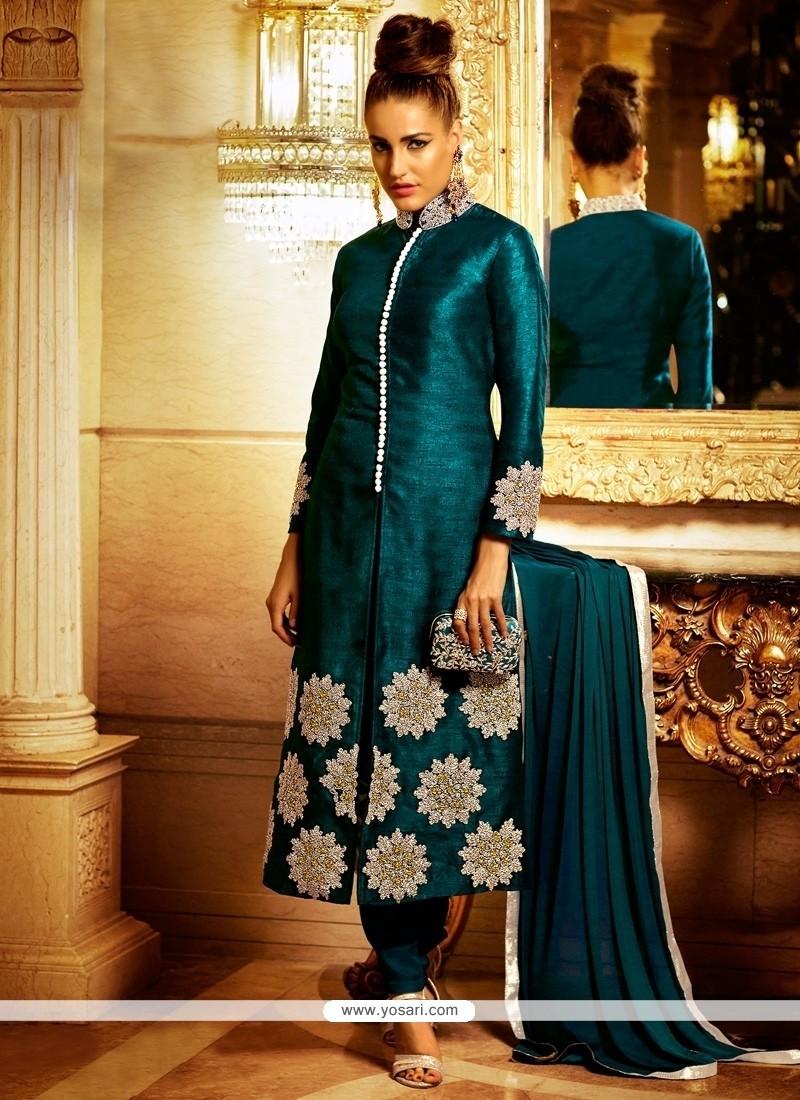 Majestic Embroidered Work Teal Bhagalpuri Silk Designer Suit