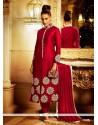 Imposing Resham Work Red Bhagalpuri Silk Designer Suit