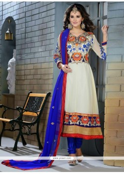 Angelic White Georgette Designer Anarkali Suit