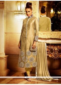 Trendy Resham Work Bhagalpuri Silk Beige Designer Suit