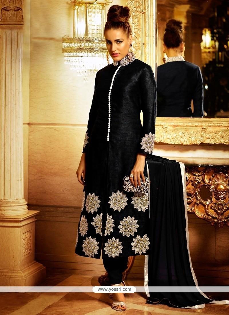 Paramount Bhagalpuri Silk Black Designer Suit