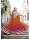 Lovable Net Orange And Pink A Line Lehenga Choli