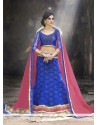 Glitzy Patch Border Work Blue A Line Lehenga Choli