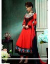 Charismatic Red Georgette Churidar Salwar Kameez