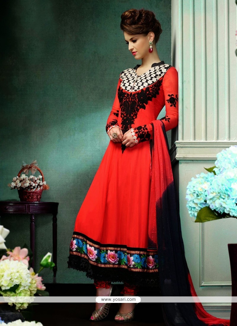 Charismatic Red Georgette Churidar Salwar Kameez
