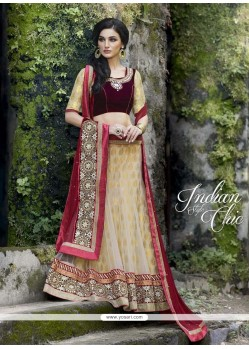 Luscious Net Patch Border Work A Line Lehenga Choli
