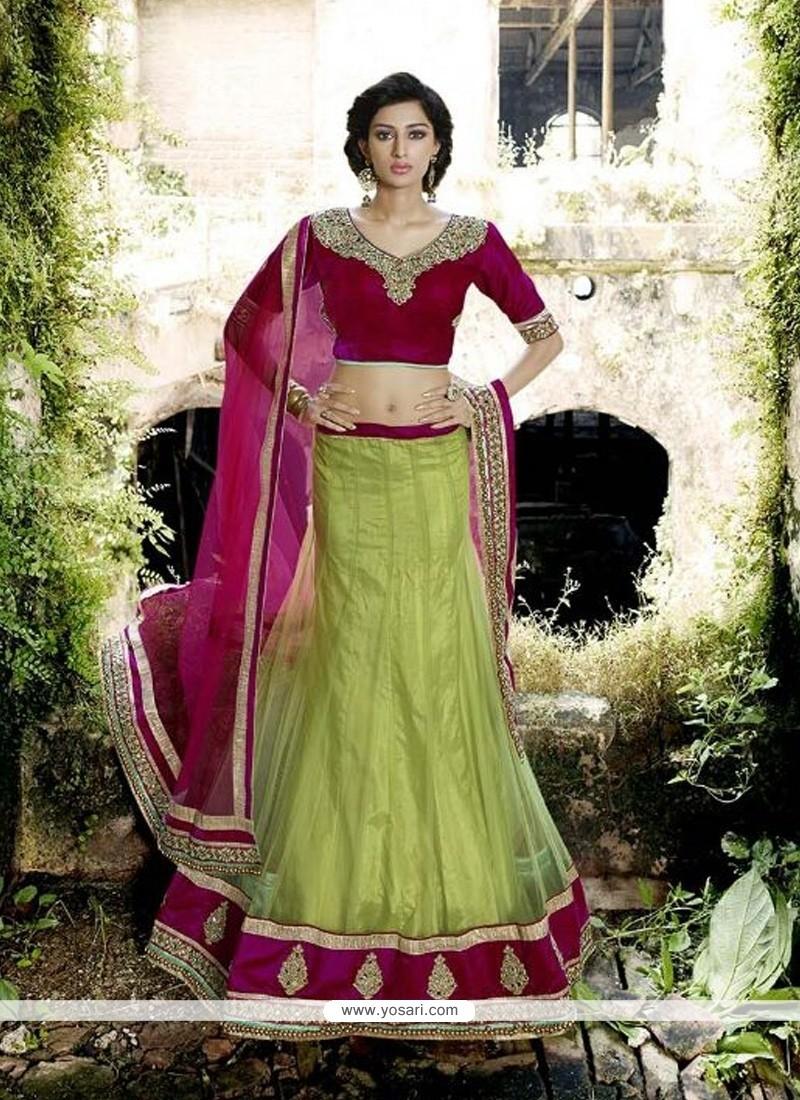 Lustre Green A Line Lehenga Choli