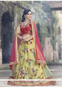 Flawless Multi Colour Patch Border Work A Line Lehenga Choli