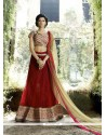 Wonderous Red A Line Lehenga Choli