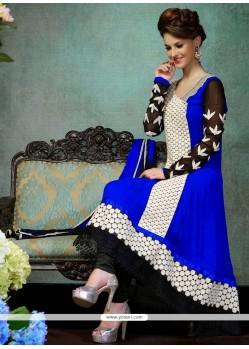 Breathtaking Blue Georgette Churidar Salwar Suit