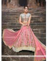 Baronial Pink Resham Work Silk A Line Lehenga Choli