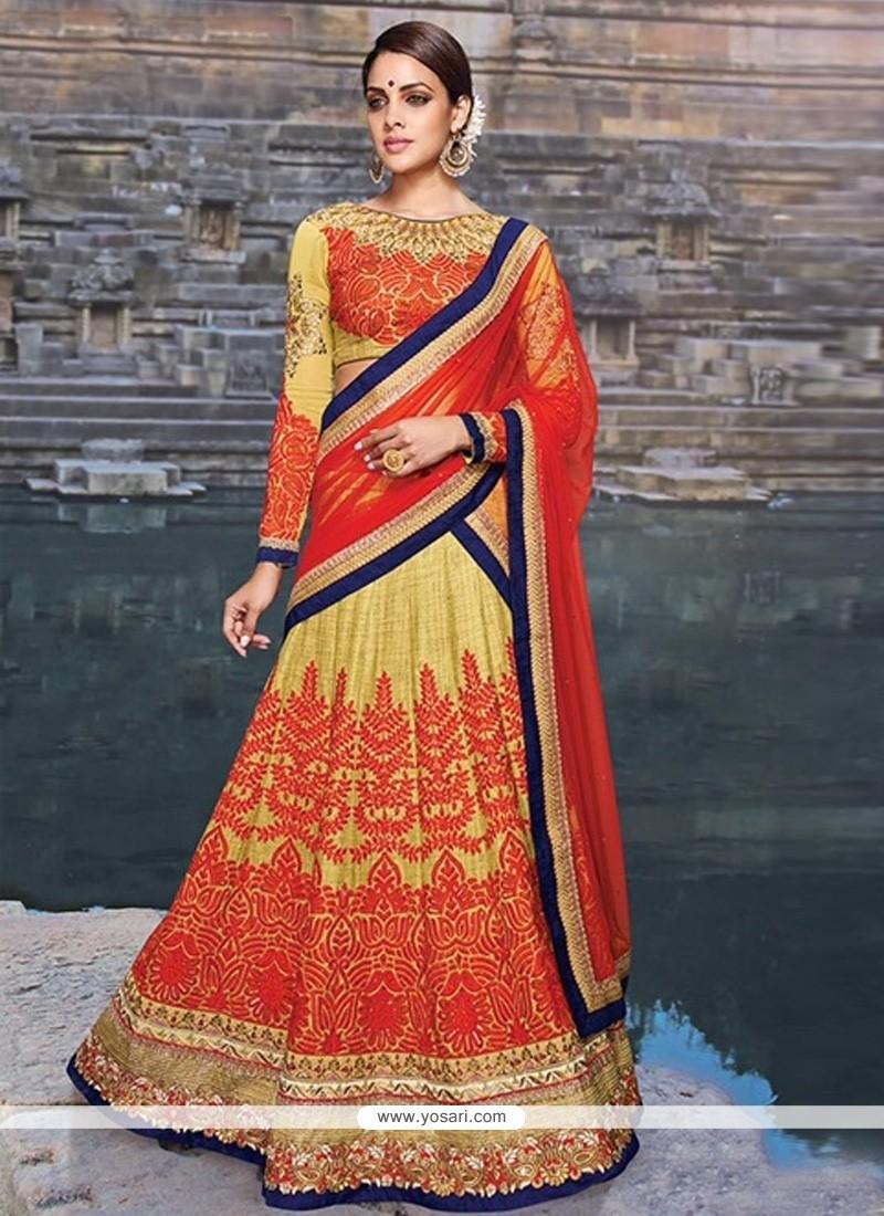 Intriguing Red Resham Work Silk A Line Lehenga Choli