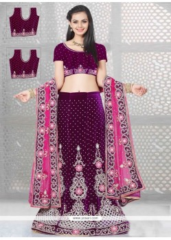 Titillating Resham Work Purple A Line Lehenga Choli