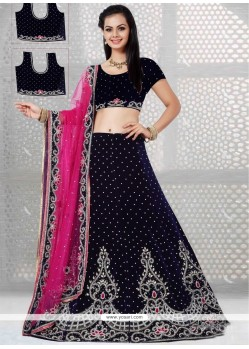 Perfect Net Navy Blue A Line Lehenga Choli