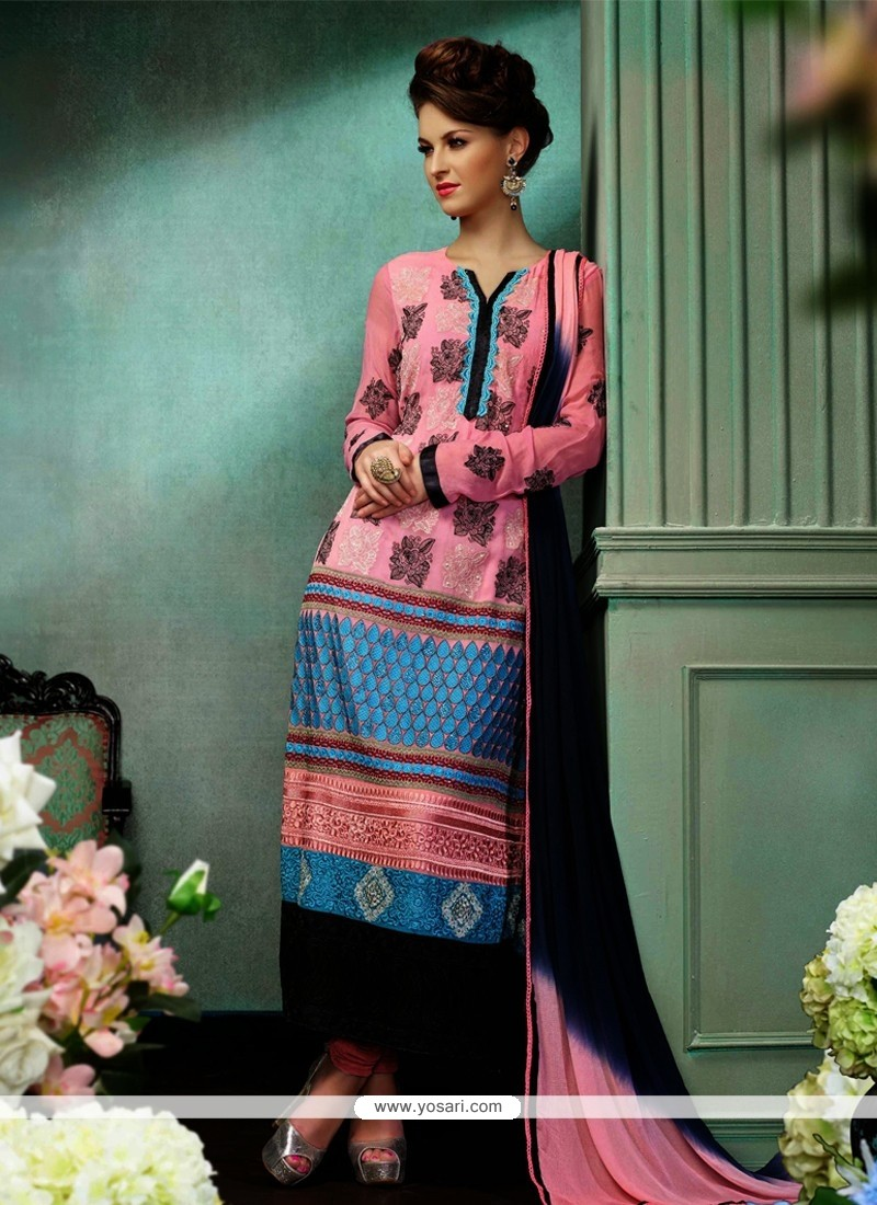 Angelic Pink Embroidery Churidar Salwar Suit
