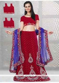 Charming Embroidered Work Velvet A Line Lehenga Choli