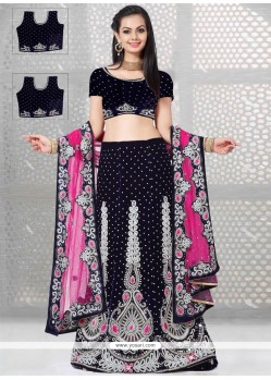 Urbane Embroidered Work Navy Blue And Pink A Line Lehenga Choli