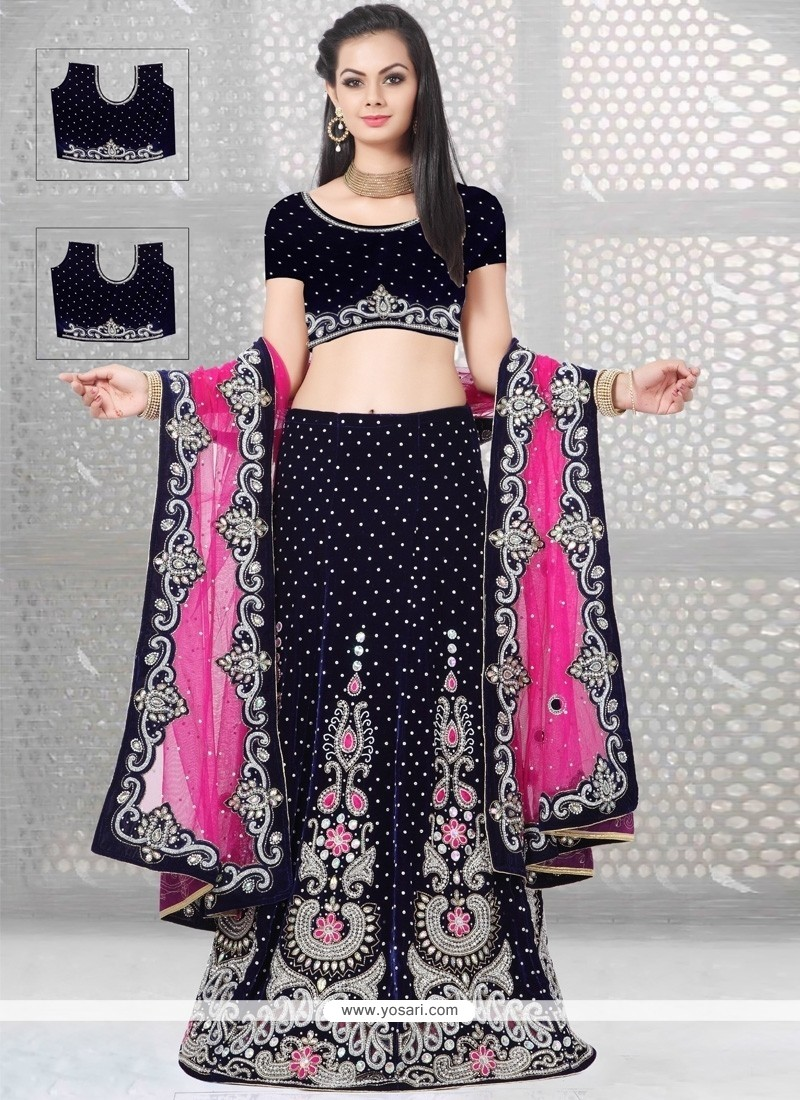 Bedazzling Navy Blue And Pink A Line Lehenga Choli