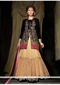 Exceptional Cream And Black Net A Line Lehenga Choli