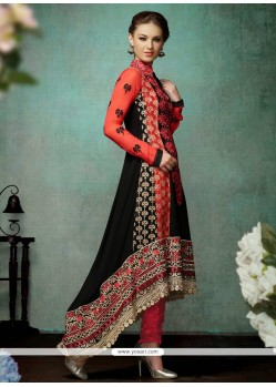 Black And Red Georgette Churidar Salwar Suit