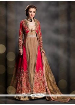 Urbane Patch Border Work Art Dupion Silk Designer Gown
