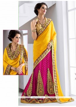 Best Resham Work Net Lehenga Saree