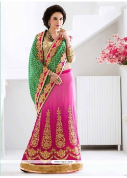 Demure Embroidered Work Hot Pink Faux Chiffon Lehenga Saree
