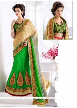 Dilettante Net Green Embroidered Work Lehenga Saree
