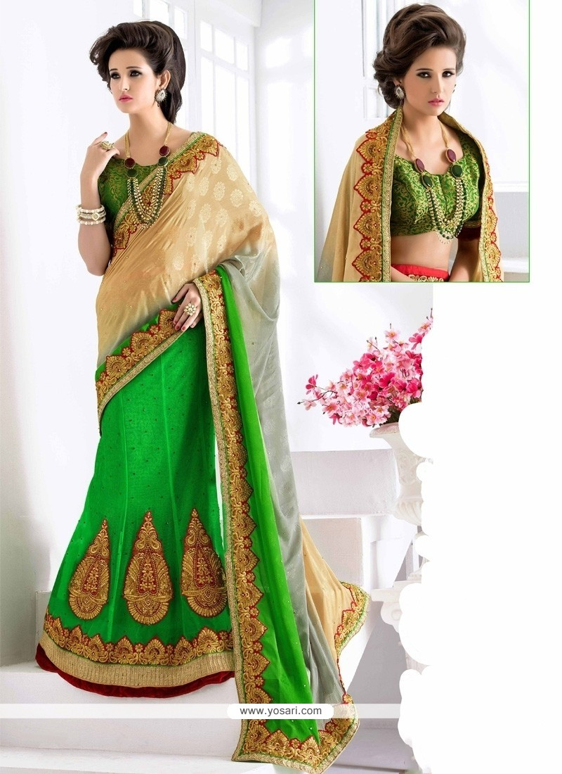 Dilettante Net Green Embroidered Work Lehenga Saree