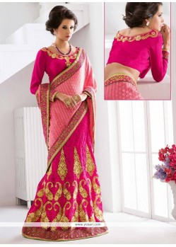 Vivid Net Hot Pink Patch Border Work Lehenga Saree