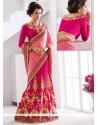 Vivid Net Hot Pink Patch Border Work Lehenga Saree