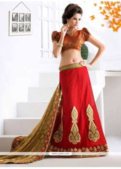 Aspiring Patch Border Work Red Lehenga Saree