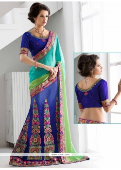 Phenomenal Net Patch Border Work Lehenga Saree