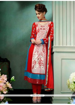 Amazing Red Resham Churidar Salwar Suit