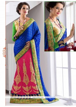 Sensational Hot Pink Lehenga Saree
