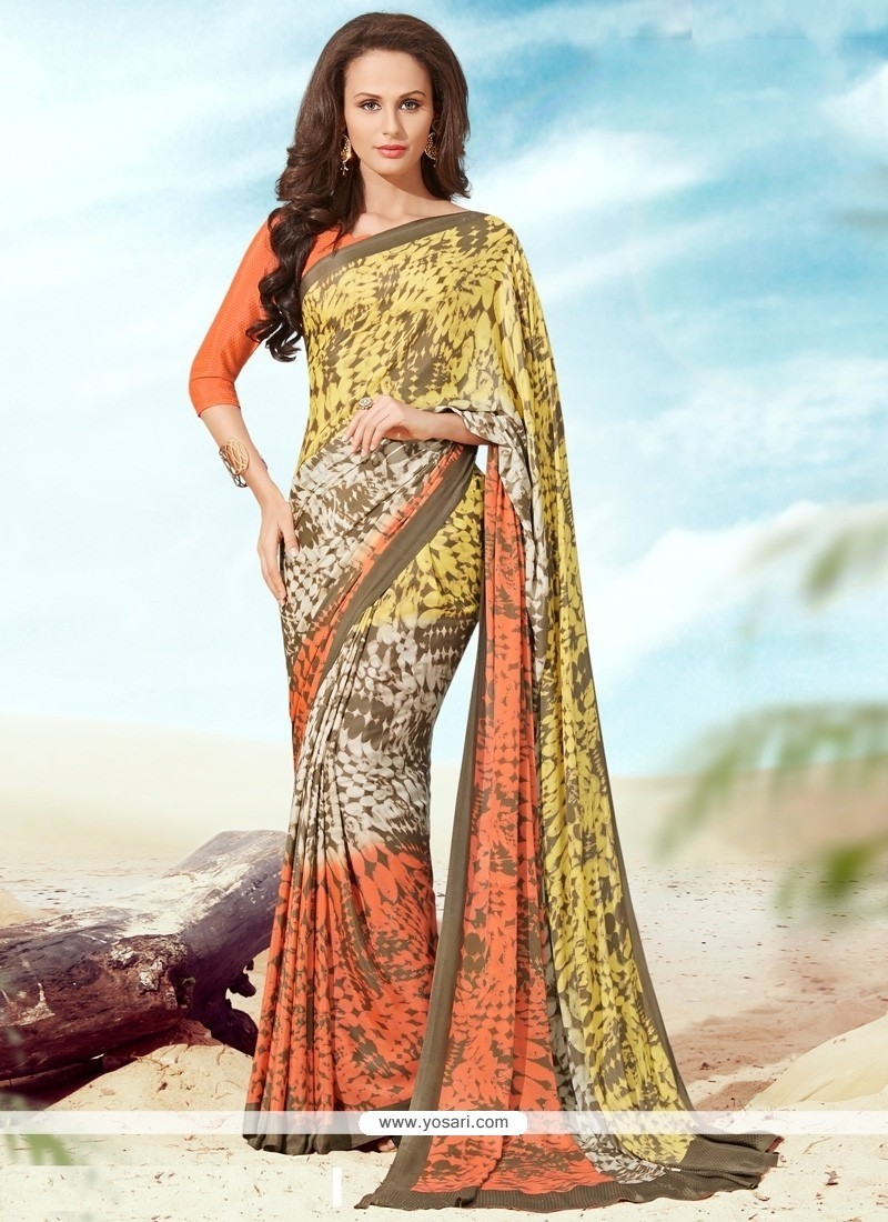 Desirable Print Work Multi Colour Faux Crepe Casual Saree