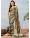 Observable Faux Crepe Print Work Casual Saree
