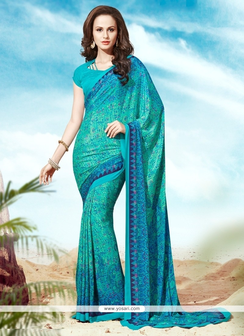 Charming Faux Crepe Blue Print Work Casual Saree