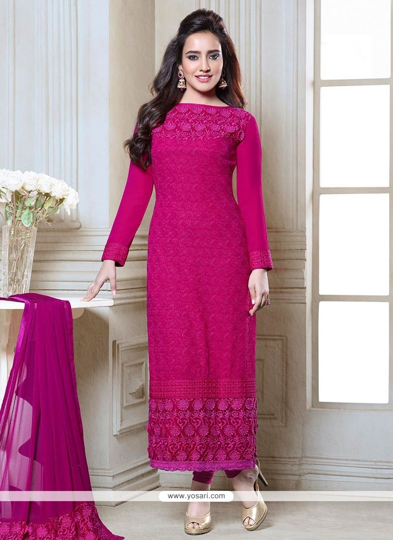 Neha Sharma Magenta Georgette Churidar Suit