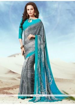 Charming Multi Colour Faux Crepe Casual Saree