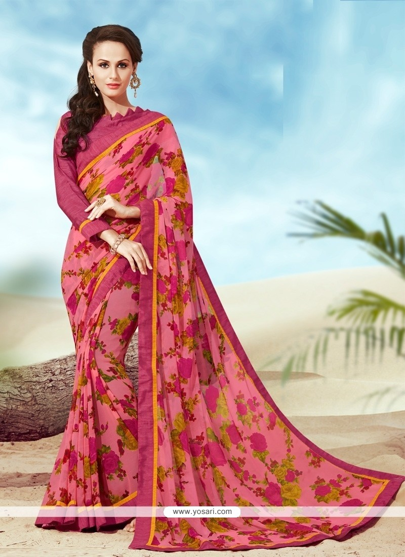 Competent Multi Colour Print Work Faux Crepe Casual Saree