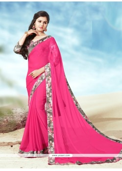 Beguiling Faux Chiffon Hot Pink Casual Saree