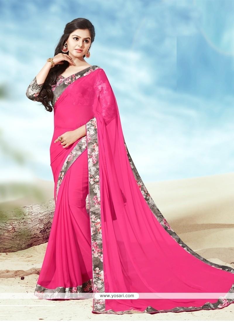 Beguiling Faux Chiffon Hot Pink Casual Saree