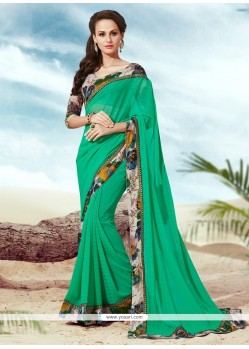 Superb Multi Colour Print Work Faux Chiffon Casual Saree