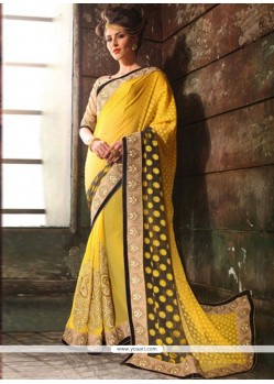 Sterling Georgette Cream And Yellow Designer Saree